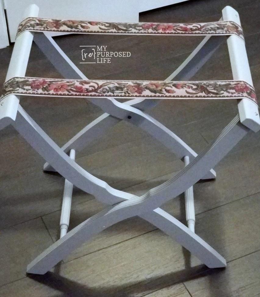 gray vintage luggage rack makeover MyRepurposedLife.com