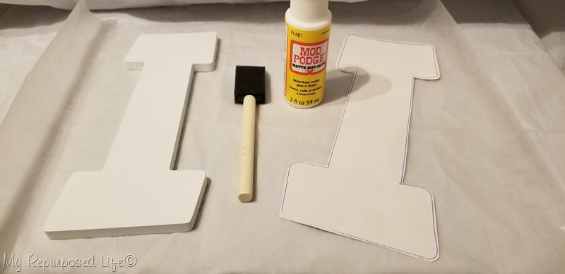 how to decoupage letters-trace