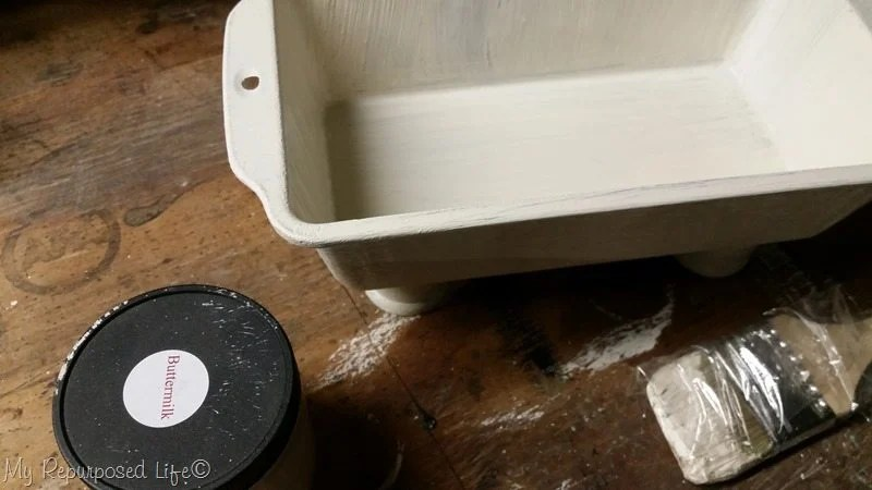 paint loaf pan with chalk type paint