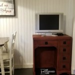 Vintage Sewing Desk as Kitchen Storage and T.V. Stand