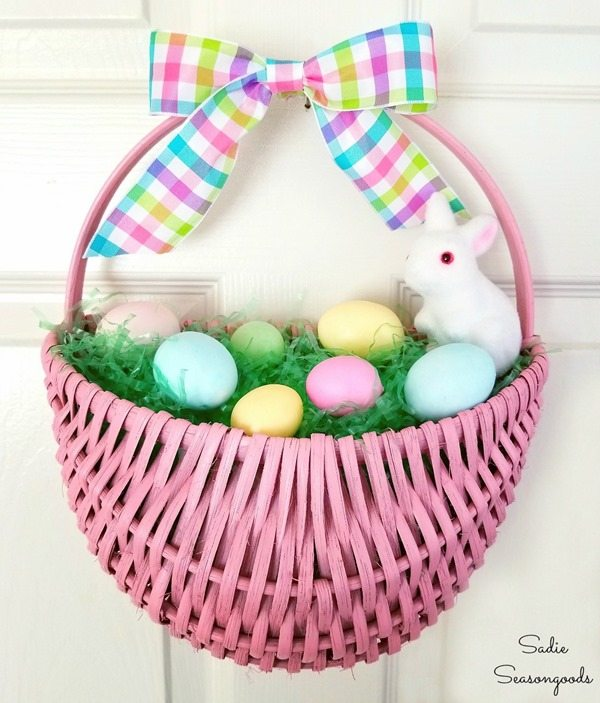 Easter basket wreath door decor