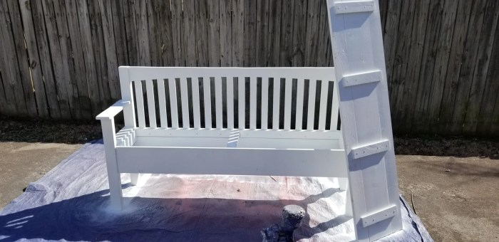 how to paint a mission style headboard bench with a paint sprayer