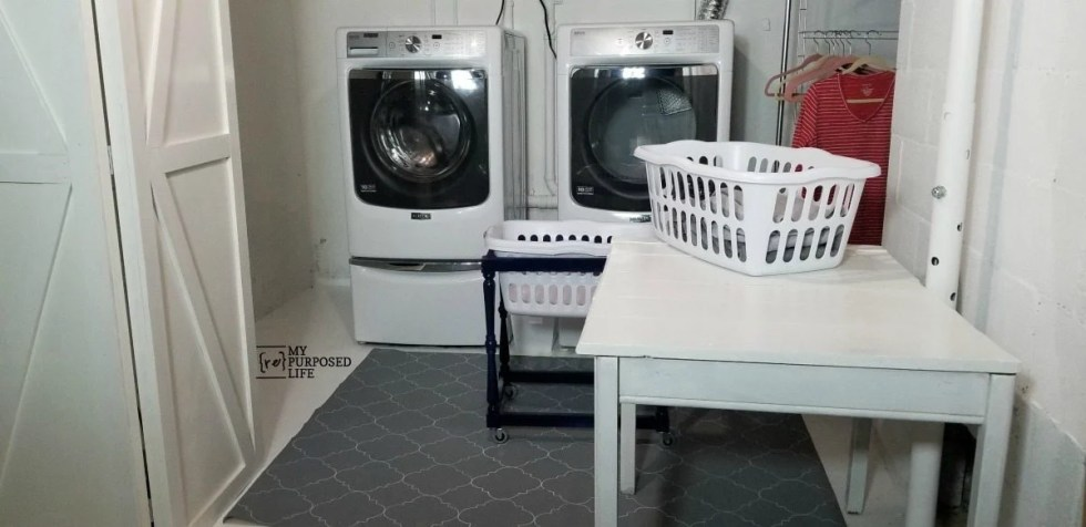 refreshed basement laundry space disguise sump pump MyRepurposedLife.com