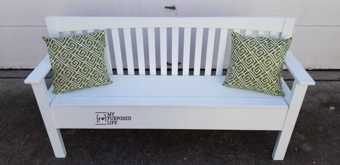 white headboard bench made from a mission style headboard MyRepurposedLife.com