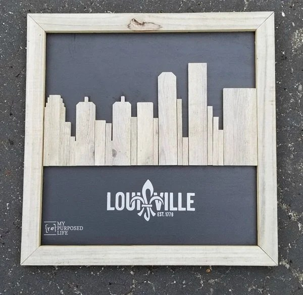 Louisville Ky rustic skyline artwork MyRepurposedLife.com