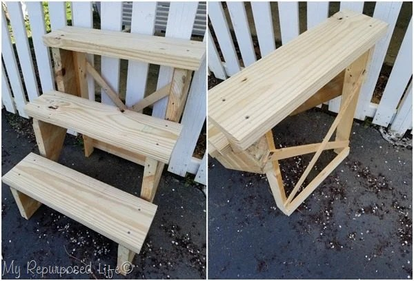front and back view of reclaimed stair stringer tiered plant stand