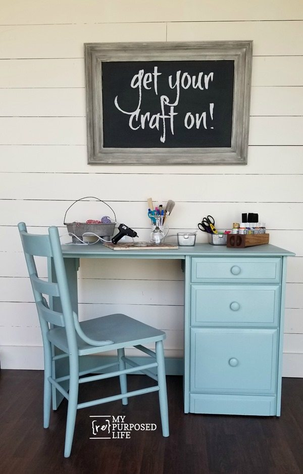 small green craft room desk MyRepurposedLife.com