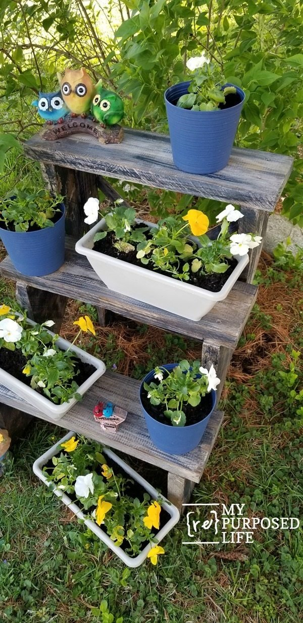 three-tiered-outdoor-plant-stand-with-pansies-MyRepurposedLife.com_