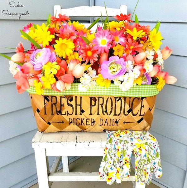 upcycled basket planter
