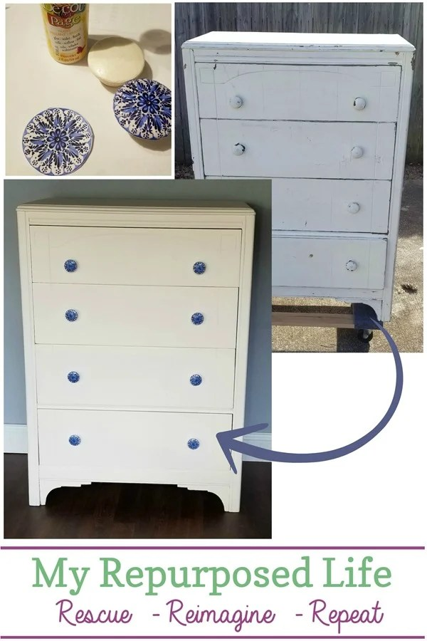 chippy dresser makeover with decoupage wooden knobs MyRepurposedLife.com #furniture #makeover #decoupage #knobs
