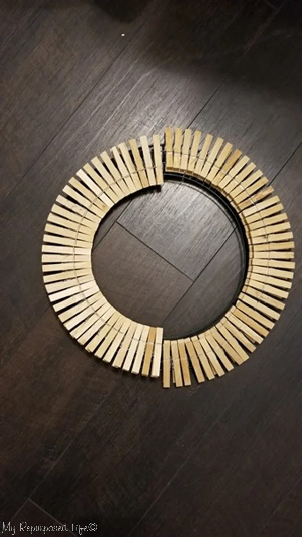 designing wooden clothespin wreath