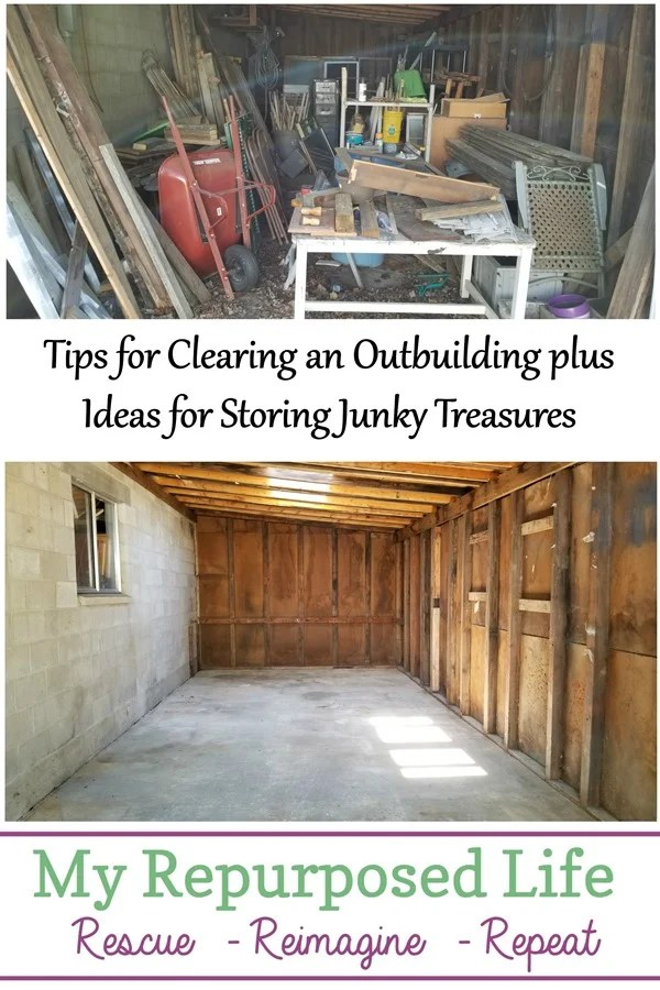 tips for clearing an outbuilding plus ideas for storing junky treasures MyRepurposedLife.com