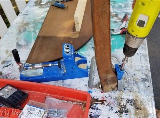 drill pocket holes in table leg