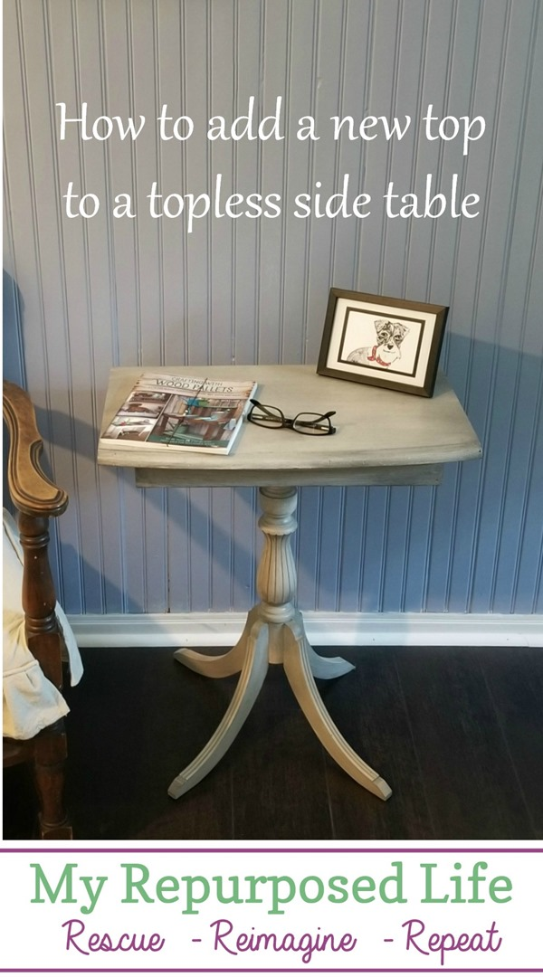 how to add a new top to a topless four legged side table MyRepurposedLife.com