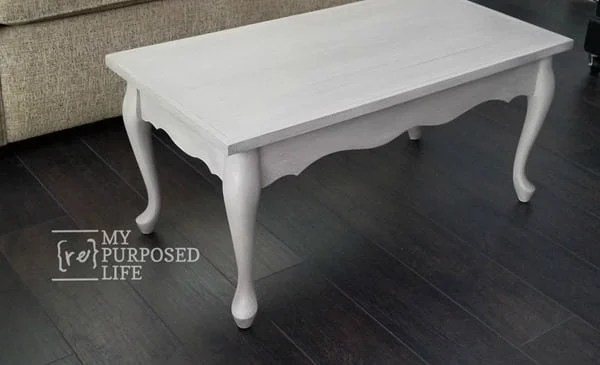 queen anne coffee table redo with hardwood flooring table top MyRepurposedLife.com