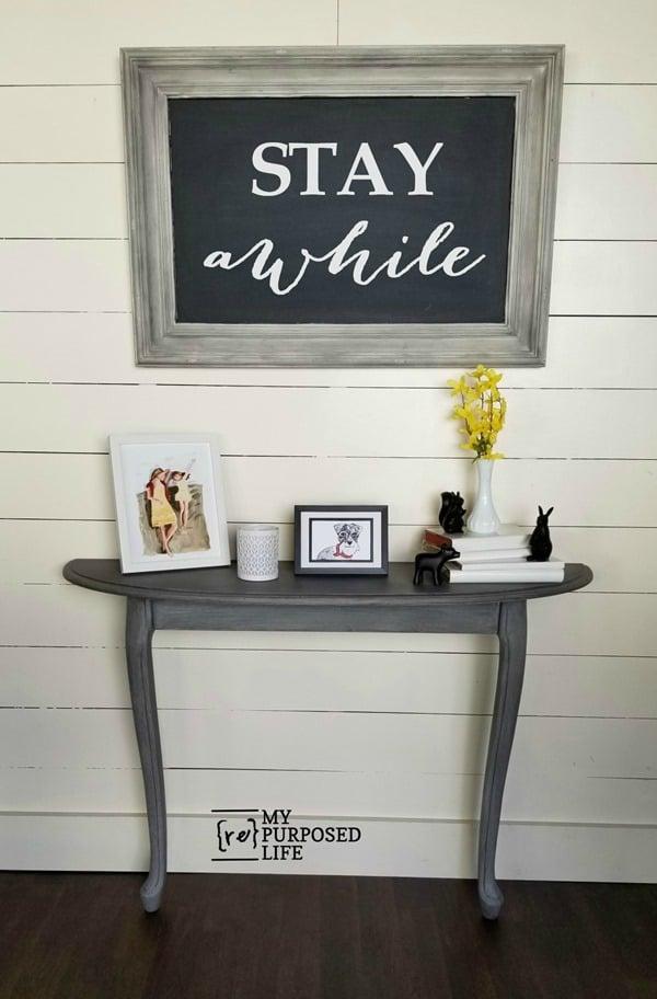 reclaimed coffee table made into hall table MyRepurposedLife.com