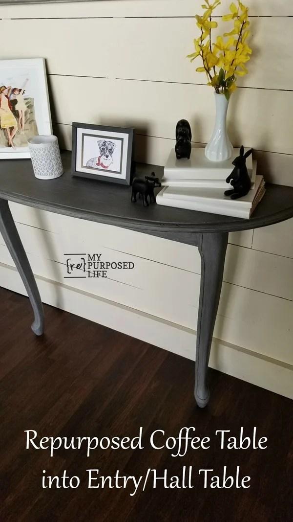 repurposed coffee table and random legs make a hall table