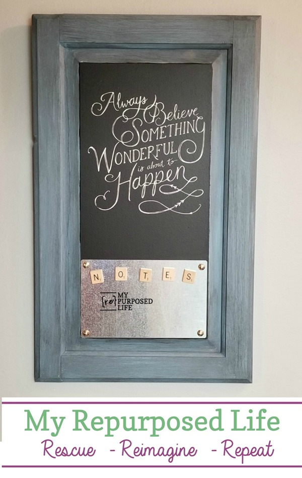 How to make a chalkboard magnetic memo out of a reclaimed cabinet door using a small piece of sheet metal and a Chalk Couture Transfer. Fun and easy project. #MyRepurposedLife #repurposed #cabinet #door #chalkboard #memo #magnetic #organizer #scrabbleties via @repurposedlife