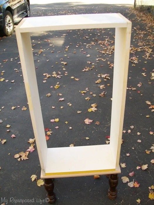 repurposed window cabinet box