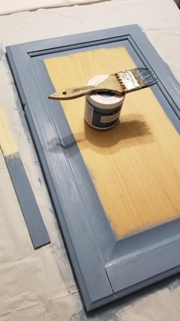 decoart chalky paint blue cabinet door chalkboard