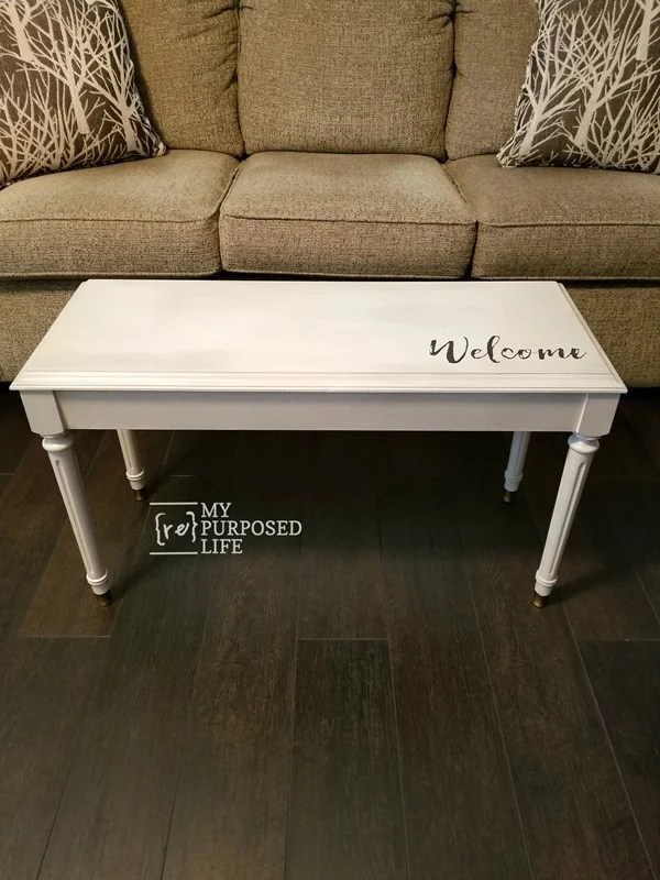 easy piano bench makeover with paint glaze and stencil MyRepurposedLife