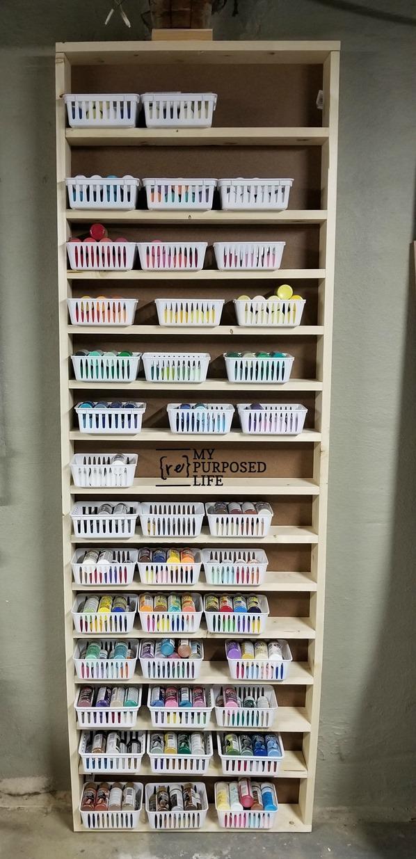 floor to ceiling craft paint shelf MyRepurposedLife