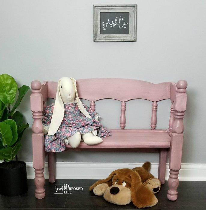 Pleasing Child Bench Made From Reclaimed Bed My Repurposed Life Inzonedesignstudio Interior Chair Design Inzonedesignstudiocom
