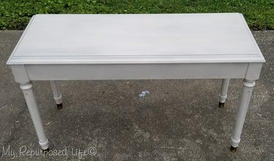 smoked glaze off white piano bench redo