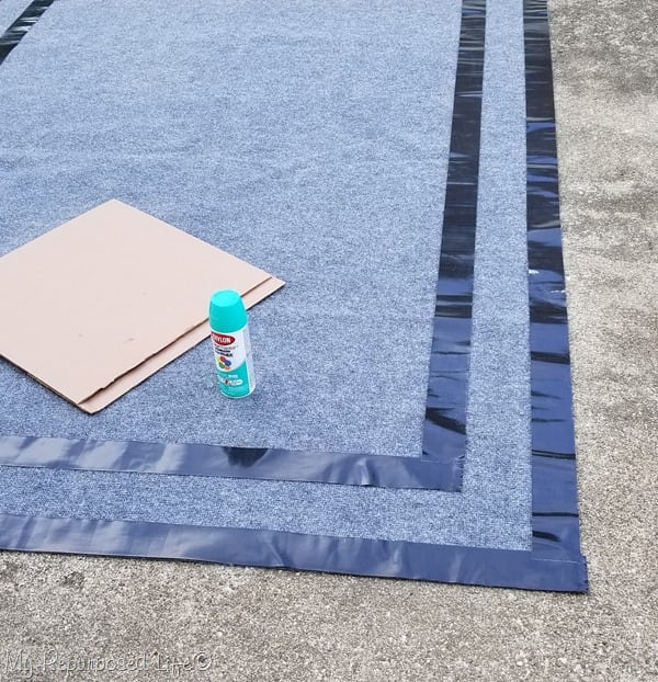 spay paint outdoor rug pattern
