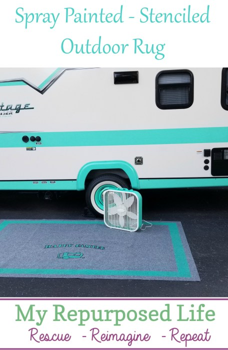 Spray Painted Outdoor Rug For Camper Or Rv My Repurposed Life