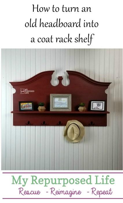 repurposed headboard coat rack shelf