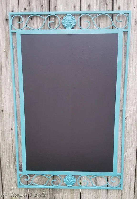 mirror frame turned into a fun chalkboard