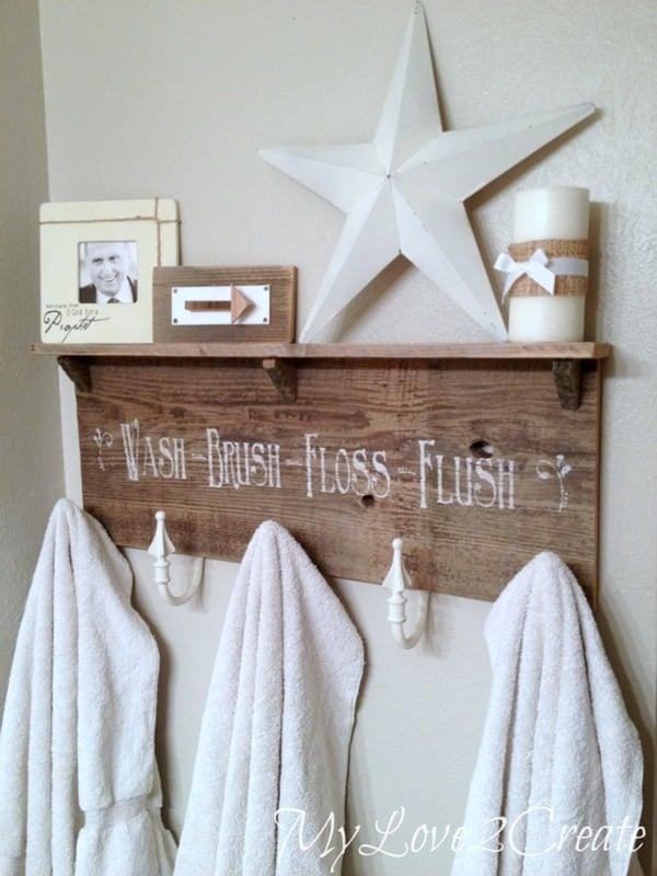 reclaimed wood and curtain tie backs organize kids bathroom