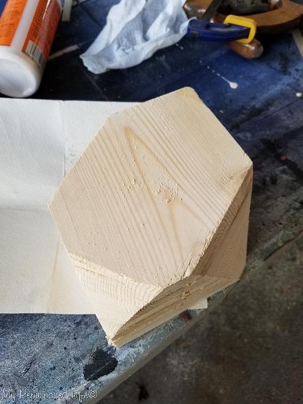 rough cut geometric candle holder