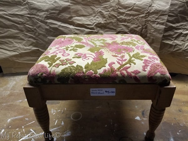 small stool makeover with paint and new fabric
