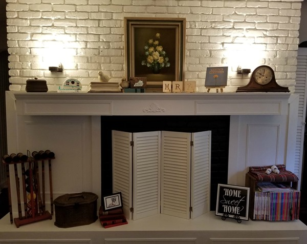 fireplace with mood lighting