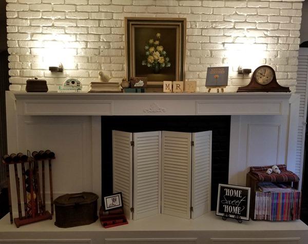 fireplace with mood lighting