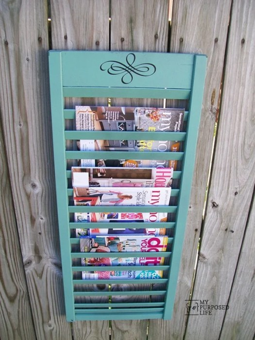 Green Shutter Magazine Rack