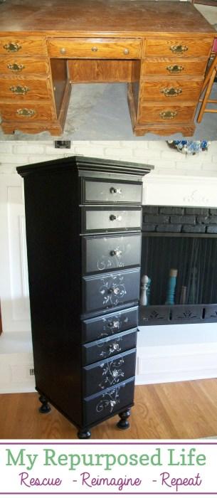 desk repurposed into lingerie cabinet