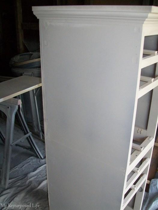 primer coat of paint on repurposed desk