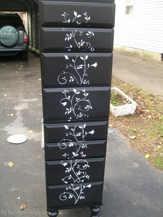 stenciled drawer fronts lingerie chest made from stacked desk