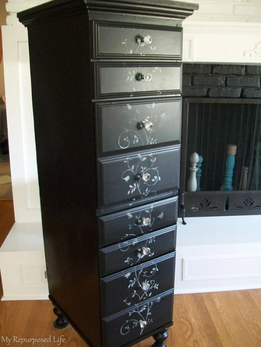 tall lingerie chest made from a desk