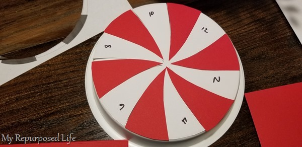 dry fit of red paper pinwheel sections