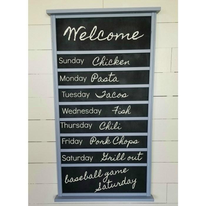 repurposed crib rail into a chalkboard menu