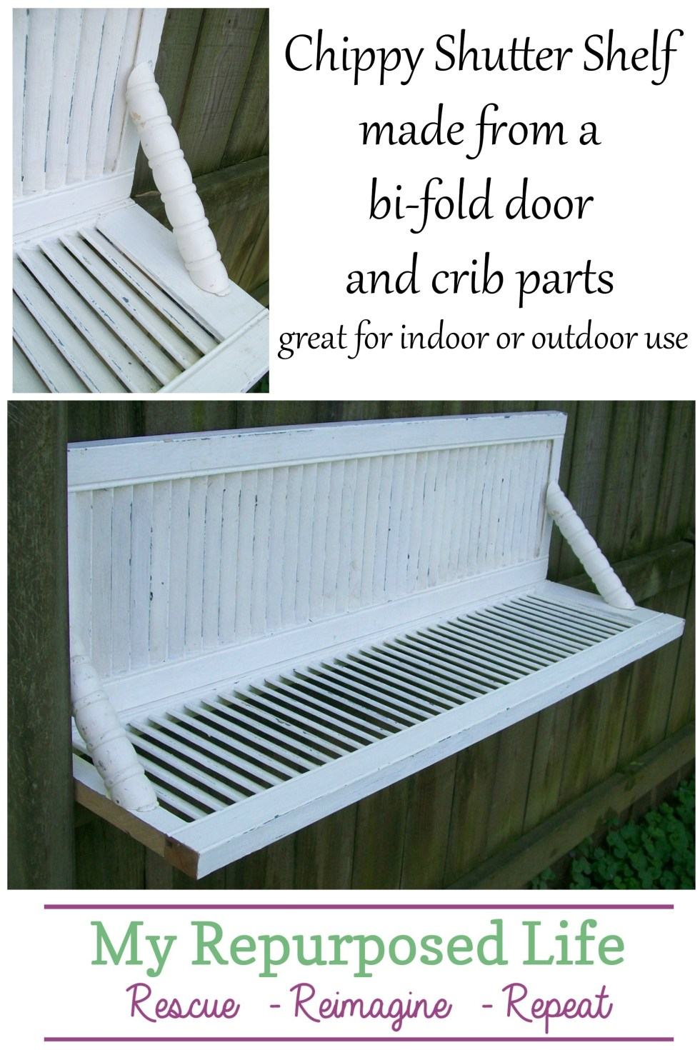 How to make the easiest chippy shutter shelf ever! Shutters can be hard to find and expensive. No problem! Use a bi-fold door instead of shutters. Easy! #MyRepurposedLife #repurposed #shutter #shelf #upcycle #indoors #outdoors #project via @repurposedlife