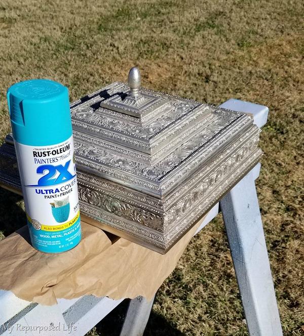 spray paint thrift store trinket box