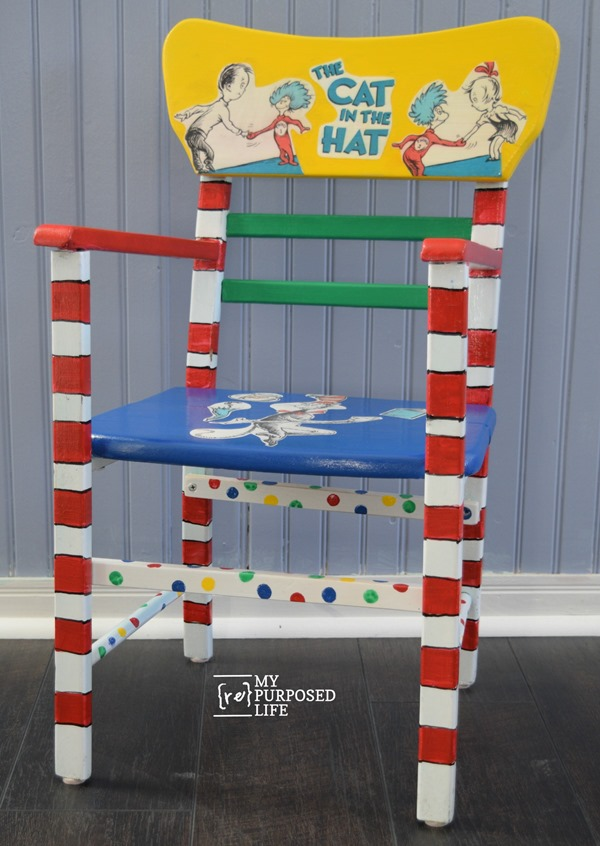 decoupage cat in the hat dr seuss chair for kids MyRepurposedLife.com