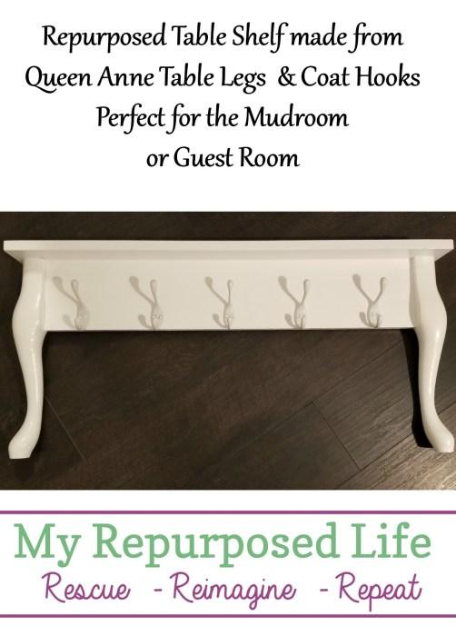 repurposed table shelf made from queen anne table legs coat hooks-perfect for mudroom or guest room #MyRepurposedLife #repurposedfurniture #wallshelf