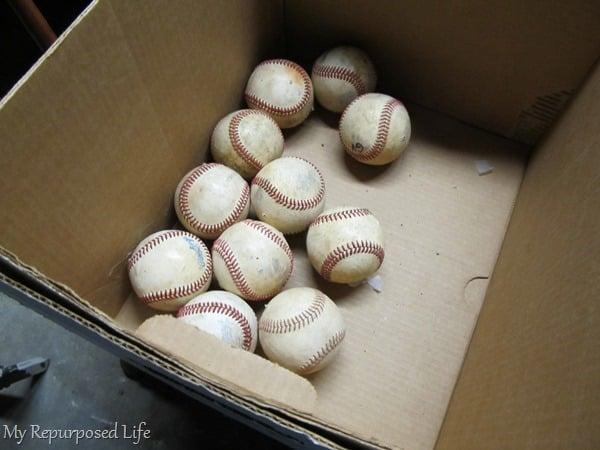 old baseballs to make a wreath