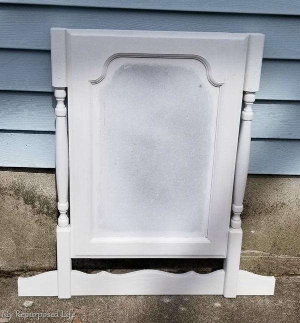 white faux dresser harp chalkboard